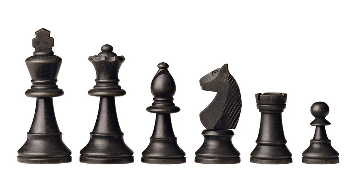 Black wooden chess pieces isolated on white background