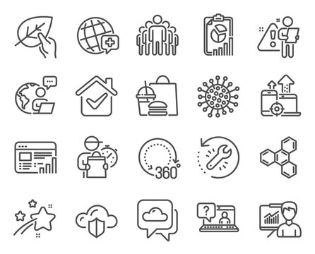 Science icons set. Included icon as Cloud protection, Faq, Coronavirus signs. Presentation, Report, 360 degrees symbols. Group, World medicine, Organic tested. Recovery tool, Seo devices. Vector