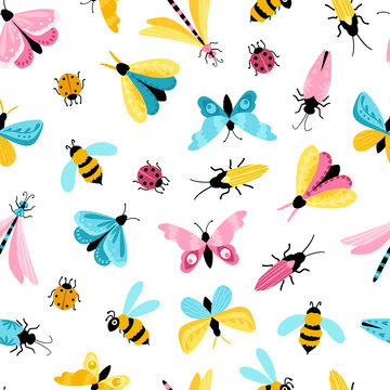 Insects seamless pattern. Colorful hand-drawn butterflies, dragonfly and beetles in a simple childish cartoon style. Isolated over white background. Ideal for summer textiles, wrapping paper