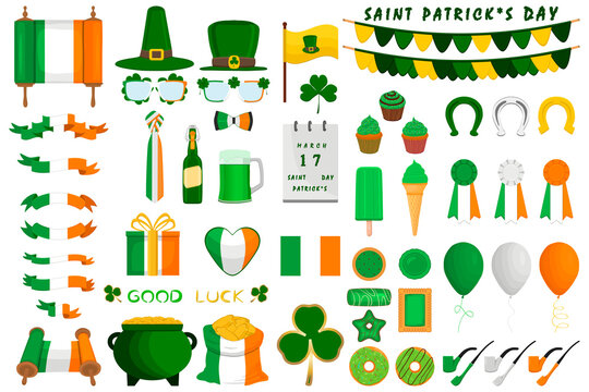 Illustration Irish holiday St Patrick day, gold coins in pot