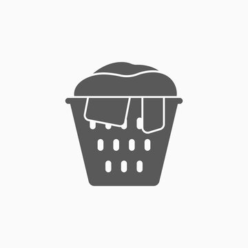 laundry basket icon, clothes basket vector