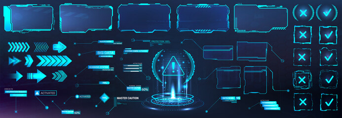 Futuristic frame border in HUD style for GUI, UI, UX and Web design. Callouts, arrows, labels, information call box bars, arrows and frame screen. Futuristic User Interface layout template. HUD set - fototapety na wymiar