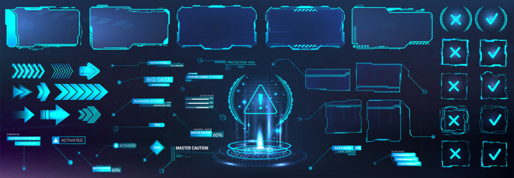 Futuristic frame border in HUD style for GUI, UI, UX and Web design. Callouts, arrows, labels, information call box bars, arrows and frame screen. Futuristic User Interface layout template. HUD set