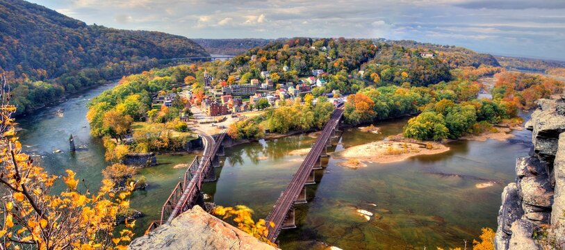 Harpers Ferry in West Virginia viewed from Maryland Heights during fall colors