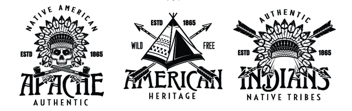 Vintage native American Indians logos set