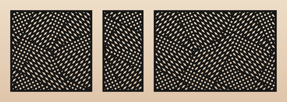 Laser cut pattern set. Vector design with modern geometric ornament, abstract grid, mesh, crossing lines. Template for cnc cutting, decorative panels of wood, metal, paper. Aspect ratio 1:1, 1:2, 3:2