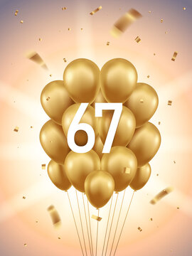 67th Year anniversary celebration background. Golden balloons and confetti with sunbeams in background.