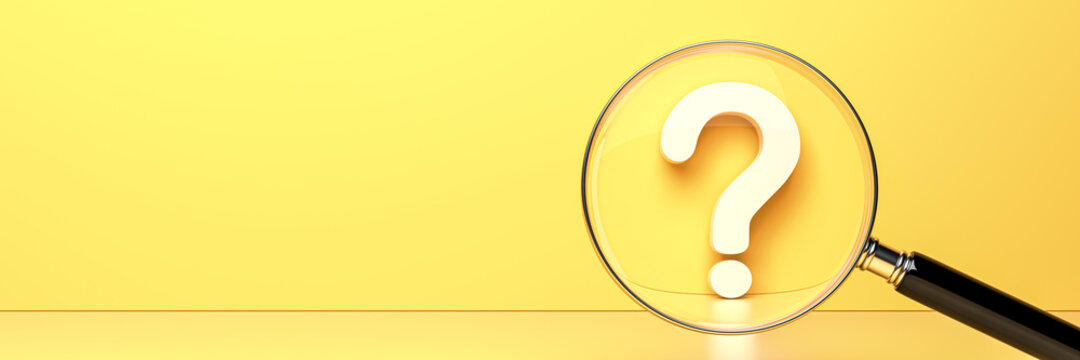 White question mark with magnifying glass on yellow background and empty copy space on left side, FAQ Concept. 3D Rendering
