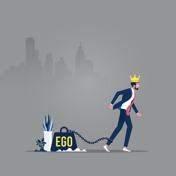 Concept of ego, confident business man with crown on head and big weight chained to foot