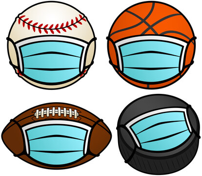 Vector illustration of a baseball, basketball, football, and hockey puck, all wearing protective face masks for the pandemic.