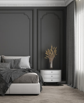 Cozy modern mock up design of living room interior have minimal bed and side table with dark grey pattern wall background