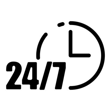 24 to 7 on white background. Customer support. Call center. Linear outline sign. Time icon vector. Stock image. EPS 10.