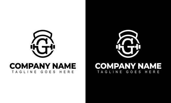 Letter G Logo With a barbell | Fitness Gym Logo | Vector Illustration of Logo Design