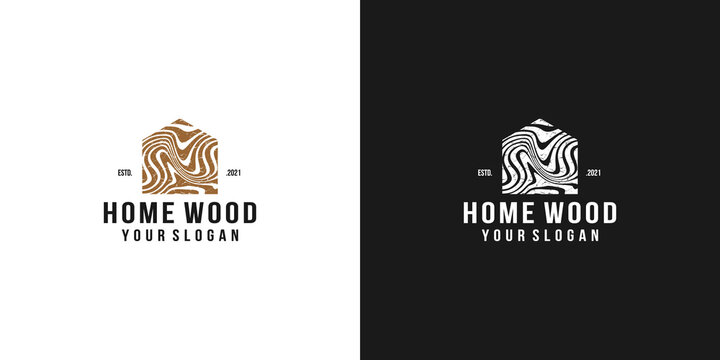 wood house home grain timber lumber vector icon logo design template vintage style