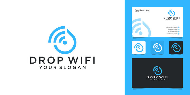 waterdrop technology with wifi combination logo design template and business card