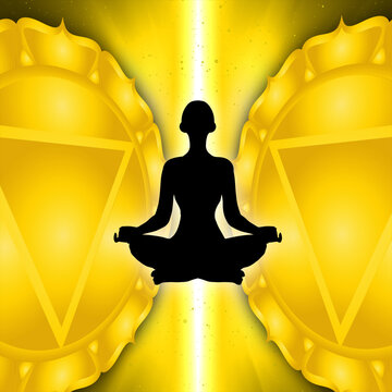 Silhouette of a man in a yoga and meditation pose against a background of the solar plexus chakra symbol