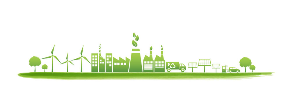Sustainability and Green Industries Business concept banner, Vector illustration