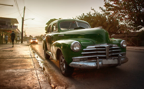 old vintage car on the streets of cuba