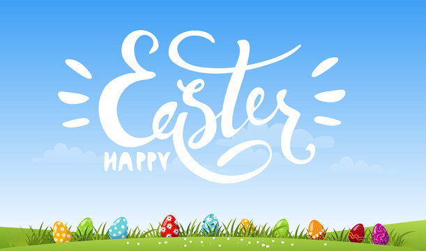 Colorful banner for the holiday. Happy Easter white lettering on a background of the spring sky, green meadow with decorated eggs. Cartoon vector illustration, modern design.