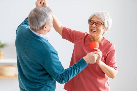 Elderly couple on valentine's day
