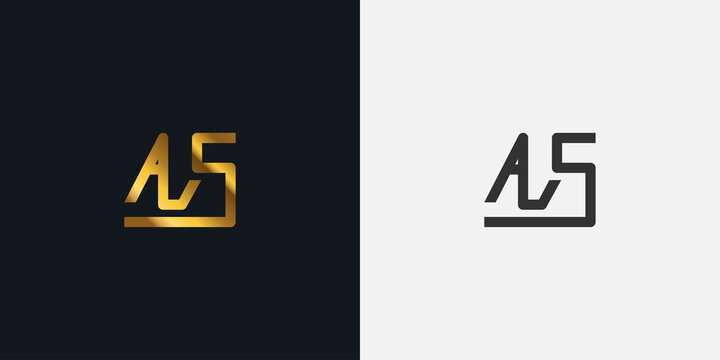 Abstract Initial Letter A and S Logo. AS logo with Golden Gradient. Usable for Business and Technology Logos. Flat Vector Logo Design Template Element.