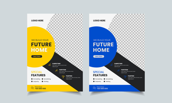 construction flyer design template, home repair flyer, home build color a4 print ready flyer