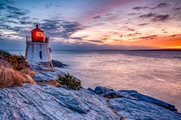 Sunset at Castle Hill Lighthous. Newport, Rhode Island