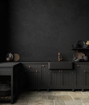 Black kitchen interior with sink, furniture, dishes and decor. 3d render illustration mock up.