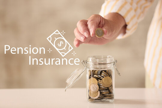 Senior woman putting coin into jar with savings at home. Concept of pension insurance