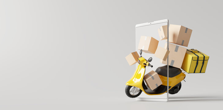 Delivery scooter with boxes on smartphone. Online delivery service concept. 3d rendering