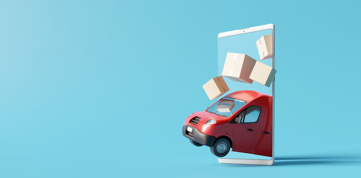 Delivery van with boxes on smartphone. Online delivery service concept. 3d rendering