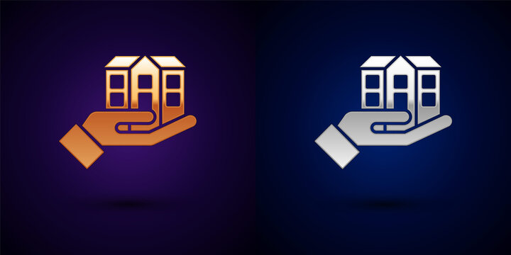 Gold and silver House in hand icon isolated on black background. Insurance concept. Security, safety, protection, protect concept. Vector.