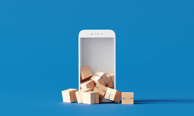 Online parcel delivery. boxes on smartphone on blue background. 3d rendering