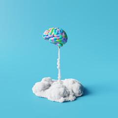 Obraz Creative idea, Colorful brain rocket on blue background. Minimal concept. 3d rendering - fototapety do salonu