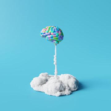 Creative idea, Colorful brain rocket on blue background. Minimal concept. 3d rendering