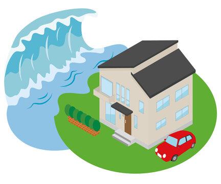 津波に襲われる家のイラスト