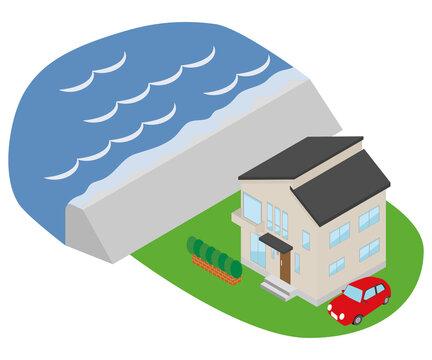 高潮が起きて堤防を海水が超えているイラスト