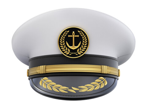 Front view of navy captain hat isolated on white background - 3D illustration