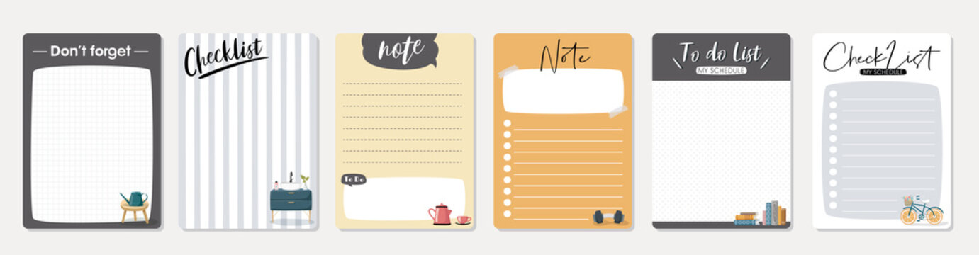 Set of planners and to do list with cute illustrations. Template for agenda, schedule, planners, checklists, notebooks, cards and other stationery.