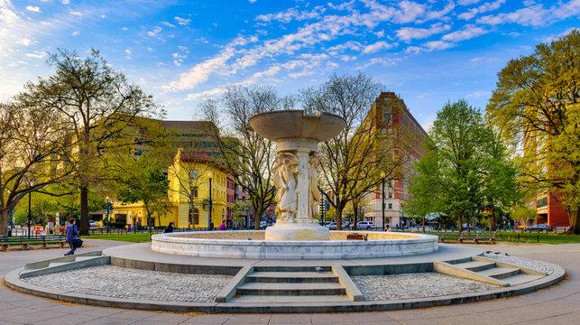 WASHINGTON,USA/APRIL 14,2017: Rear Admiral Samuel Francis Dupont Memorial Fountain