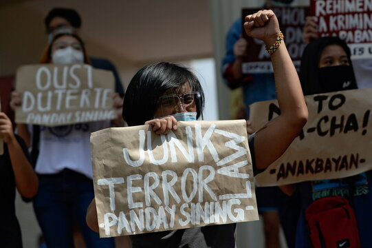 Filipino activists hold protest action in Quezon City