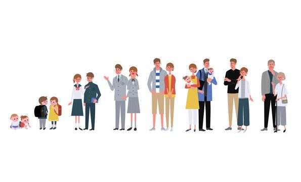 年齢別の男性と女性 大人数の人々 イラスト