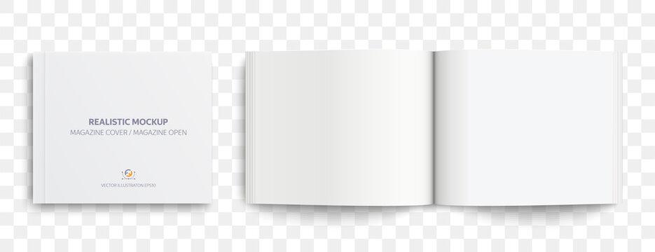 Magazine Mockup. Realistic mockups magazine: Cover magazine and open magazine with shadows isolated on light background. Vector illustration EPS10