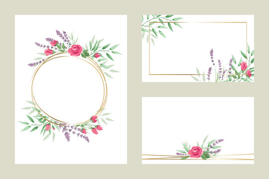 Green leaves, roses and lavender -- set of templates for invitations. Vector illustration, frame, backgrounds with design element in watercolor style.