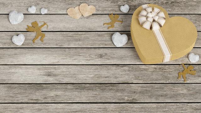 Illustrazione 3D. San Valentino. Immagine con cuori, auguri e dono in occasione della festa dell'amore..