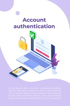 Online registration and sign up, Account authentication concept. Vector UI illustration.