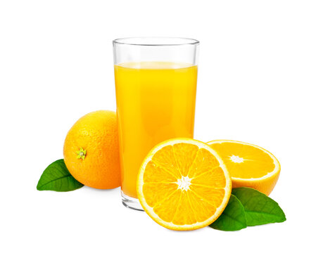 Orange juice and oranges with leaves on white background.