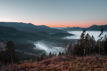 Beautiful scenery of sunset over Carpathian Mountains covered with fog in Europe, Slovakia
