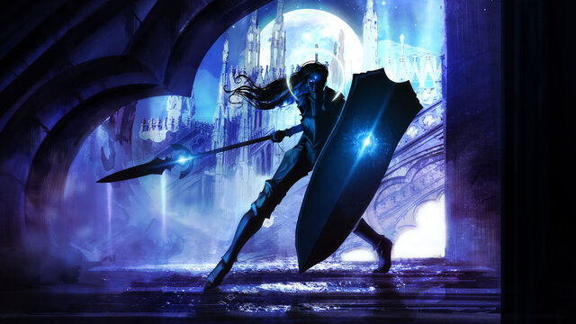 A black silhouette of a warrior girl with a long magic spear and a huge shield, against the background of a huge Gothic palace in the light of a magical moon. 2d illustration