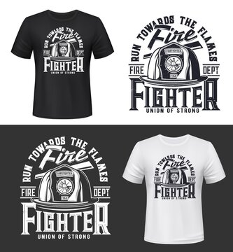 Tshirt print with firefighters helmet, ax, ladder and typography, vector apparel mockup. Fire department rescue team, emergency service black and white t shirt print design isolated label or emblem